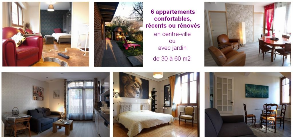 Une offre d'appartements diversifiée et de qualité.   Aix-les-bains Riviera des Alpes. Savoie.  6 appartements récents ou rénovés, en centre-ville ou avec jardin, de 30 à 60 m2